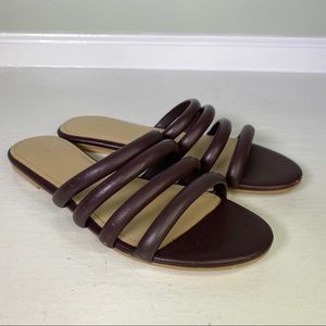 Country Road Brown Leather Slip On Sandals